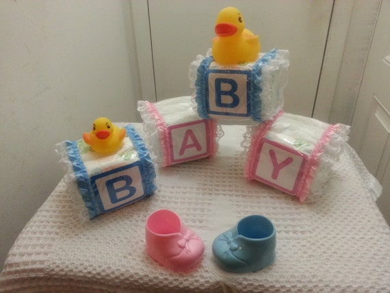 Alphabet baby block diaper cake for Alphabet blocks cake decoration