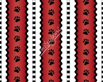 Scottie Paw Border Stripe - Mary Engelbreit - Half Yard