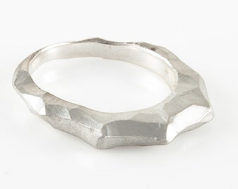 Sterling Silver Sculpted Stackable Ring Satin Matte Medium Nature Ring Mountain Ring Stack Ring Textured Ring Shonan