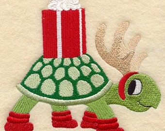 Christmas Turtle Embroidered Cotton Kitchen Towel