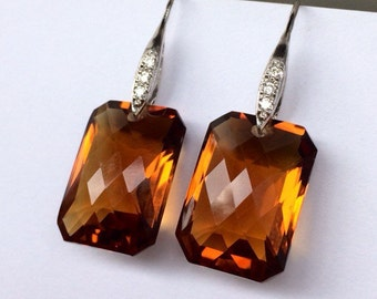 Sale Madeira Citrine Earrings.  Luxury jewelry. Sterling Silver Pave