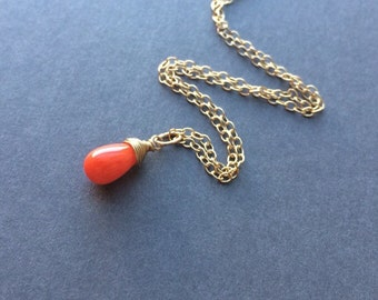 Tiny Coral pendant Necklace - pink orange white red - Gold  Silver  Rose Gold