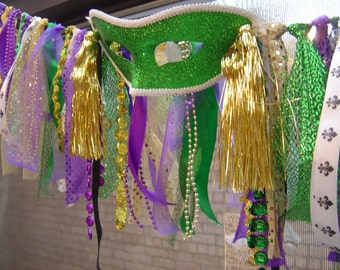Mardi Gras Banner/Garland - Purple/Green/Gold - Fun Colors/Lots of Beads/Mask- Parties/Photo Shoots/Home Decor