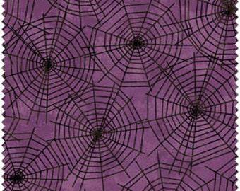 Black Cat Crossing From Maywood Studios - Full or Half Yard Black Spider Webs of Purple Halloween