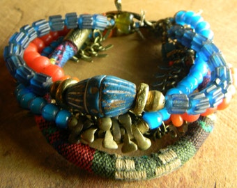 African Beaded Bracelet Turquoise Red Colorful Trade Beads Tribal Jewelry