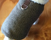 Brown Wool Herringbone Sherpa Lined Small Dog Harness Jacket