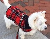 Tartan Plaid Sherpa Lined Dog Jacket