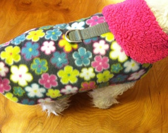 SALE  Pink Floral Sherpa Lined Harness Dog Jacket