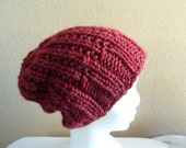 Merlot Red Wine-Colored Chunky Slouchy Hand Knit Hat