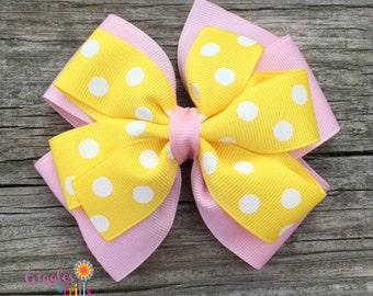 Pink and Yellow Hair Bow, Pink Lemonade Bow, Girls Hair Bow, Toddler Hair Bow, Pink and Yellow Polka Dot Layered Hair Bow, FREE SHIP PROMO
