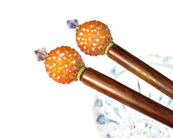 Hairsticks, Orange Hair Accessories, For Long Hair, For Messy Bun, PAIR