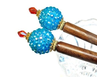 Colorful Hair Accessories Hairsticks in Turquoise and Red Handmade Gifts, PAIR