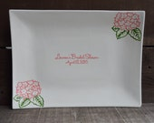 Custom Bridal Shower Signature Guestbook Platter - Hydrangea Flowers - - Personalized - Names and Date