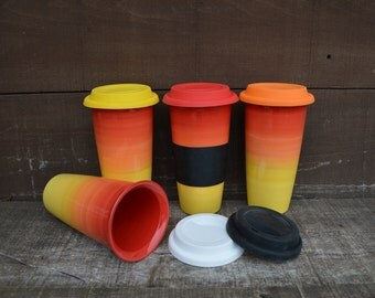 Sunset Ombre Large Ceramic Travel Mug with Silicone Lid - Colorful Gradient Design - Pick Your Lid Color - Shades of Red, Orange and Yellow