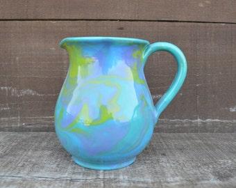 Ceramic Pitcher / Creamer - 1/2 L - Marbled Swirls in Cool Colors - Tie Dye Look - Sale