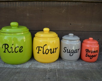 Custom Hand Painted 4 Piece Ceramic Canister Set - Includes Seals - Pick Your Colors and Patterns