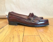 vintage 1980's fringed leather loafers womens shoes Bass and Co