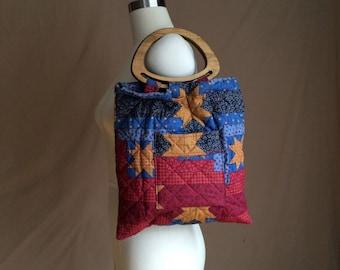 WEEKEND SALE ! vintage patchwork purse / 1970's retro /  hippie / Holly Hobbie / quilted handbag / tote / wooden handles  / handmade