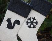 Two Christmas Stockings, Burlap Christmas Stockings, You Design