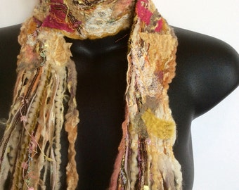 PATCHWORK SCARF,Yellow scarf,unique scarf, HANDMADE, textile scarf