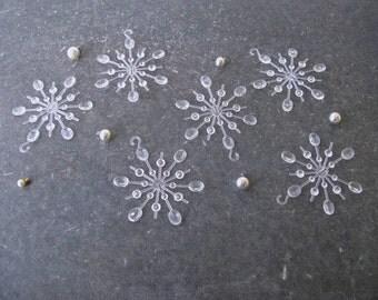 Vintage Clear Plastic Snowflakes, Christmas Ornaments, Midcentury
