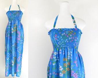 70s maxi dress / 70s blue floral maxi halter dress / vintage blue chiffon 70s long dress / 70s garden party dress / 70s tube top dress