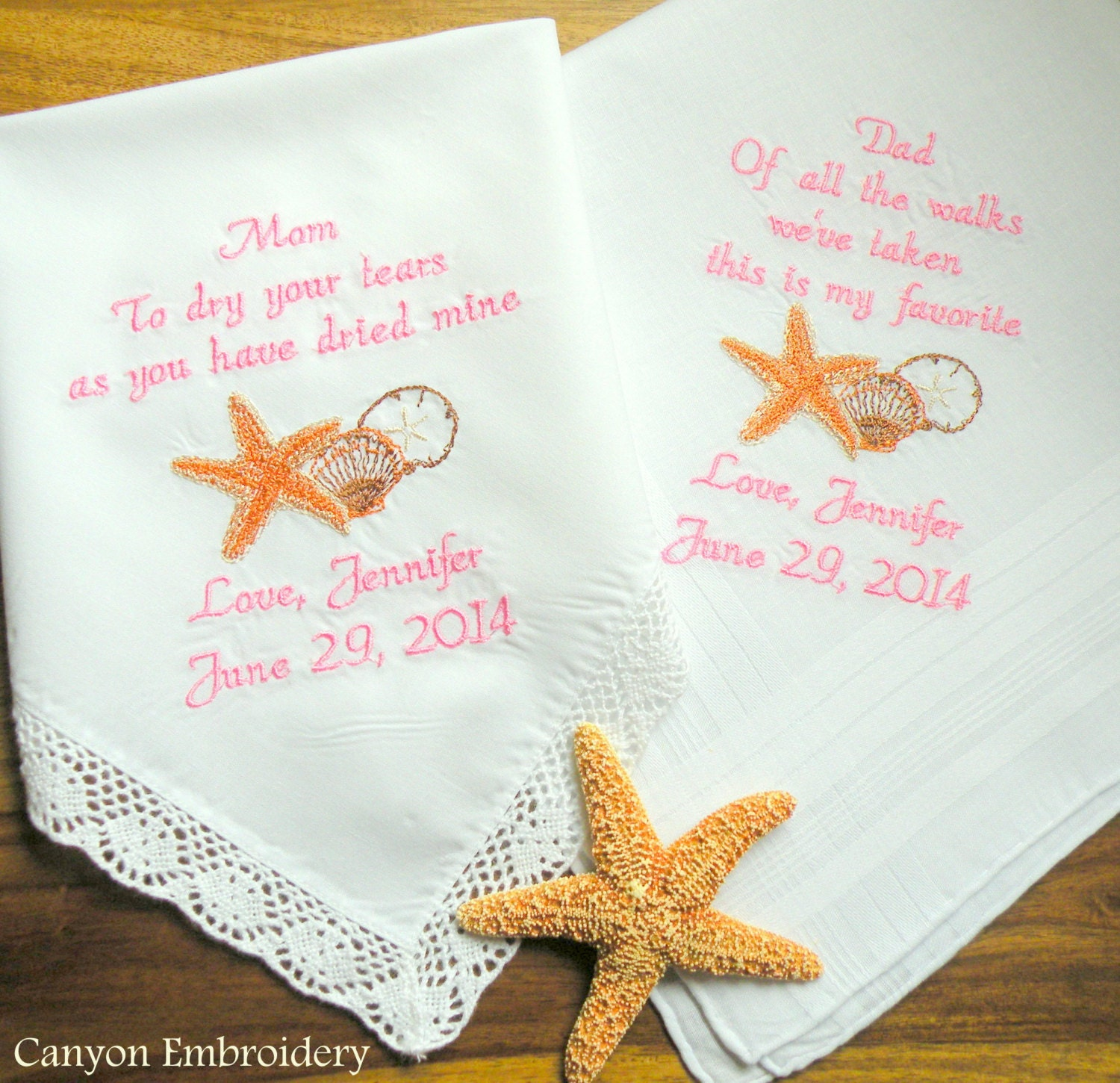 Embroidered Wedding Handkerchiefs Beach Wedding Mother Of The Bride Father Of