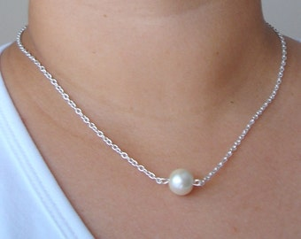 3 Single Floating Pearl Necklaces  - Bridesmaid Gift, One Pearl Necklace, Single Pearl Necklace, Bridesmaid Necklace