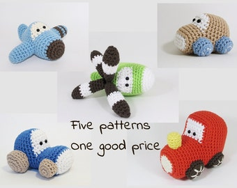 Amigurumi vehicles crochet patterns - airplane, car, helicopter, tractor, train - US English