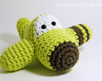 Amigurumi Airplane Crochet Toy Baby Rattle - organic cotton - pistachio and brown