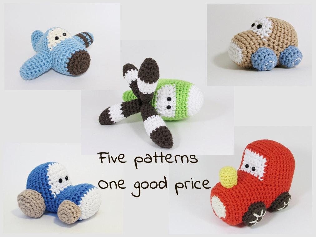 Amigurumi Patterns Cars : Amigurumi vehicles crochet patterns airplane car