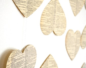 """Vintage Book Hearts Garland - Large 5"""" wide vintage hearts in 10, 15, 20 and 30 foot lengths"""