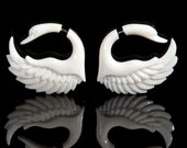Fake Gauges, Handmade, Bone Earrings, Cheaters, Organic, Plugs, Split, Tribal Style - Sankofa  Bone
