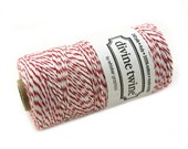 Bakers Twine 240 yard spool - CHERRY RED and White Bakers Twine String for crafting, gift wrapping, packaging, invitations