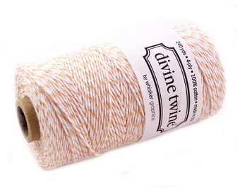 Bakers Twine 240 yard spool - PEACH & White Bakers Twine String for crafting, gift wrapping, packaging, invitations