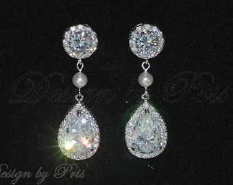 JE22- Bridal Vintage Style Cubic Zirconia Earrings  - Bridal.Accessory.Jewelry
