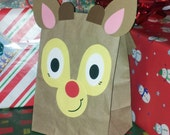 Reindeer Rudolph Treat Sacks - Christmas Holiday Theme Birthday Party Favor Goody Bags by jettabees on Etsy