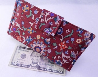 Maroon Women's Wallet, Bifold Wallet, Floral Clutch, Wallet Insert, Vegan Wallet, Made in USA