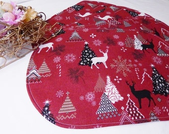 Christmas Sale, Table Runner Placemats, Red, Black,White, Reversible Placemats,Trees, Deer, Snowflakes, Gift Under 40
