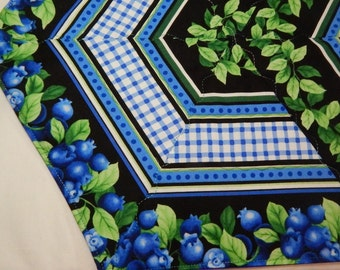 Table Runner, Quilted Table Runner, Blueberry Table Mat, Blueberry Decor, Made in Maine USA, Gift Under 50