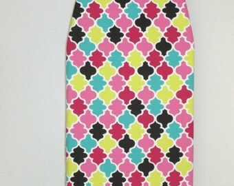Padded - All in one - Tabletop Ironing Board Cover-Economy-Multi color - Quatrefoil Lattice, Red,Turquoise, Hot Pink, Black, Chartreuse-
