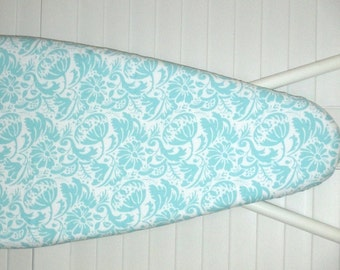Standard Ironing Board Cover - Laundry Room - Sewing Room - Craft Room - Aqua Blue Floral Damask