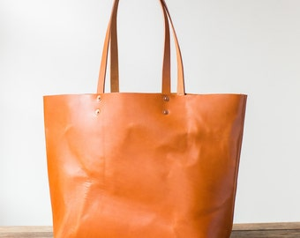 Saddle Tan Bridle Leather Tote w/ Hammered Copper Rivets