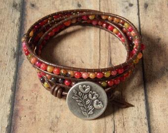 Triple wrap ladder bracelet/ fall agates/ brown leather/ silver button