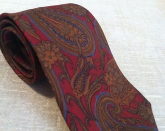 Blue and Gold Paisley in Cabernet Silk Vintage JOHN COMFORT London Necktie