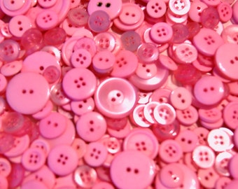 50 PINK Button Mix,   assorted sizes -  Grab Bag - Crafting -  Jewelry -  Collect (1364)
