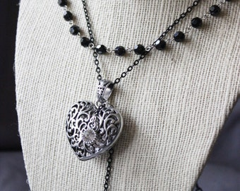 Layered Elegant Silver Heart and Cameo Necklace
