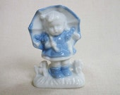 Vintage 1950s Little Girl with Umbrella Porcelain Figurine, Small Blue and White Danish or Dutch Style Vintage Figurine