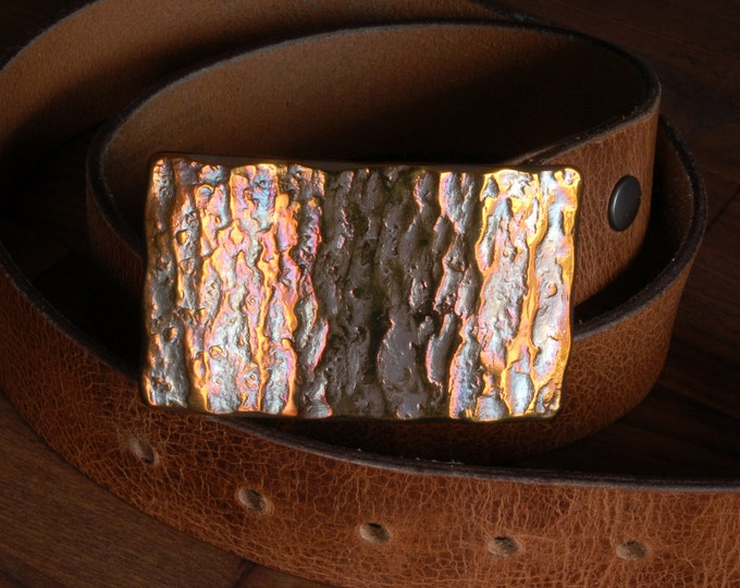 """Canadian Glacier Belt Buckle Hypoallergenic Hand Forged Anvil Texture Unisex Solid Stainless Steel Signed Original Fits 1.5"""" Belt For Jeans"""