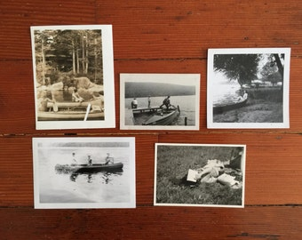 vintage photographs of people in canoes and on water black white sepia